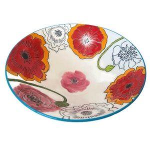 Dutch Wax Hand Painted Floral Ceramic Serving Bowl